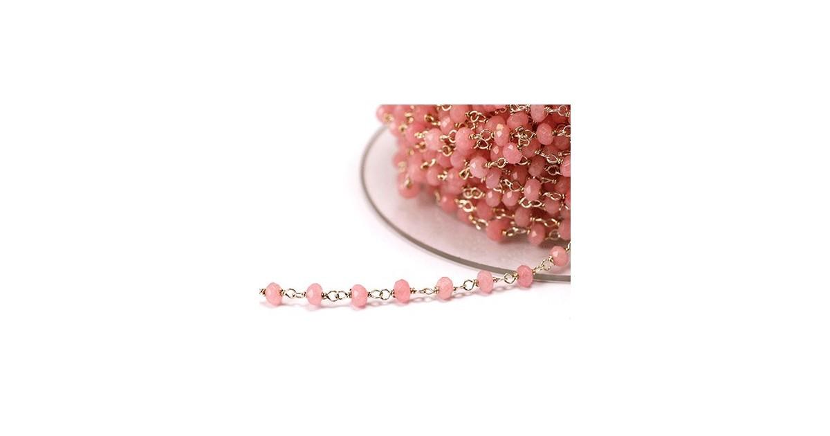 chaine argent avec pierres semi-precieuse rose pastel