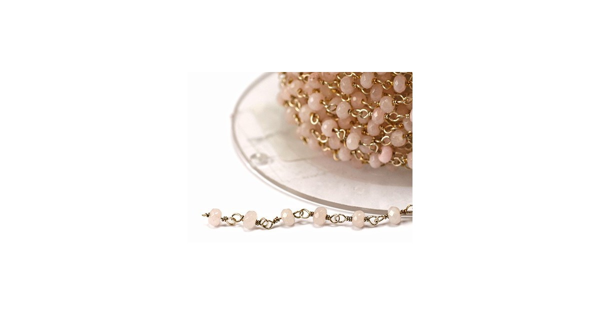 chaine argent avec pierres semi-precieuse rose clair pastel