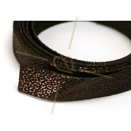 leather flat 20mm leopard metal brown