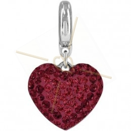 Becharmed Pave Heart 14mm Rojo