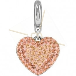 Becharmed Pave Heart 14mm Peach