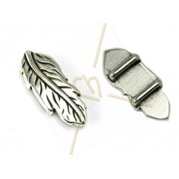 "leather spacer ""feather"" 35*14mm for 10mm"