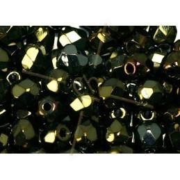 Fire Polished beads 4mm  Jet Brown Iris