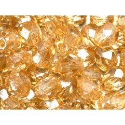 Fire Polished beads 4mm  Yellow Luster