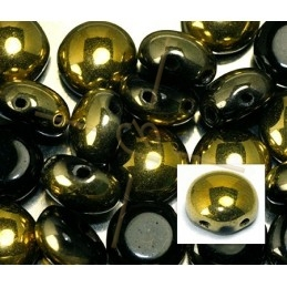 Candy beads 8mm 2-hole Jet Dorado