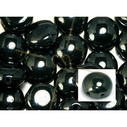 Candy beads 8mm 2-hole Jet Hematite