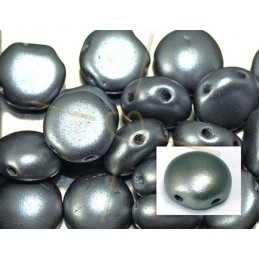 Candy beads 8mm 2-hole Pastel Light Grey