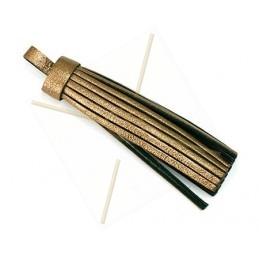 kwastje leder 75mm bronze