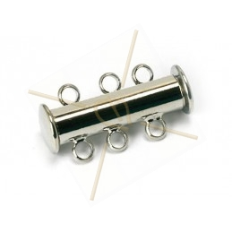 Clasp slider 3-row tube silver