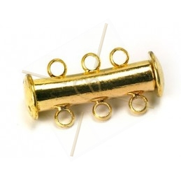 Clasp slider 3-row tube gold
