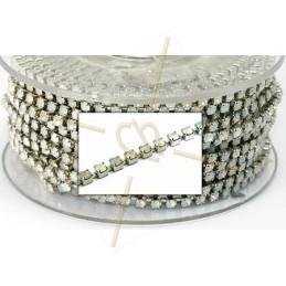 cadena de acero con strass white opal PP18