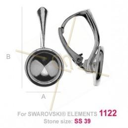 Boucles d'oreilles argent925 pour 1122 8mm Swarovski