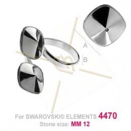 ring regelbaar zilver .925 voor Swarovski 4470 12*12mm steen