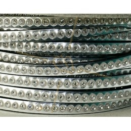 flat leather 5mm silver with strass
