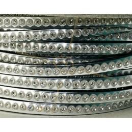 plat leder zilver 5mm met strass