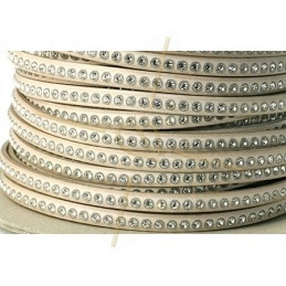 flat leather 5mm taupe clair with strass