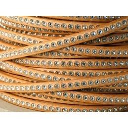 plat leder naturel 5mm met strass