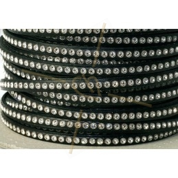 flat leather 5mm black with strass