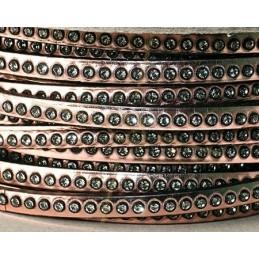 plat leder Rose Gold/black 5mm met strass