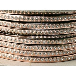 flat leather 5mm Rose Gold with strass
