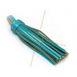 Tassel leather 75mm lightblue