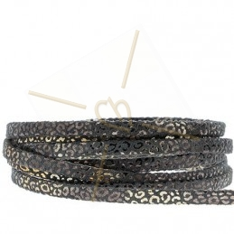 leather leopard metal style 5mm black gold