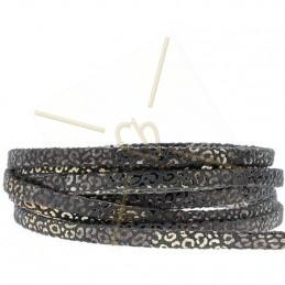 leder leopard metal versterkt 5mm zwart gold