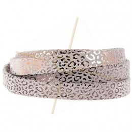 leather leopard metal style 5mm light rose gold