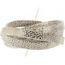 leder leopard metal versterkt 5mm beige gold