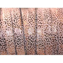 leather flat 10mm leopard metal Light Rose Gold