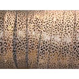 Cuir plat 10mm leopard metal renforcé sable