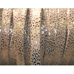leather flat 10mm leopard metal cream gold