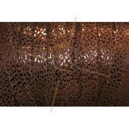 Cuir plat 10mm leopard metal renforcé marron