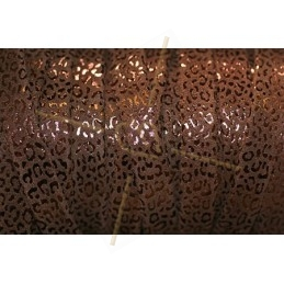 leather flat 10mm leopard metal brown