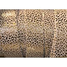 Cuir plat 20mm leopard metal renforcé crème or