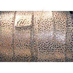 Cuir plat 20mm leopard metal renforcé sable