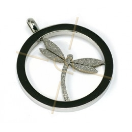 "pendant steel ""dragonfly"" 35mm with rhinestone"