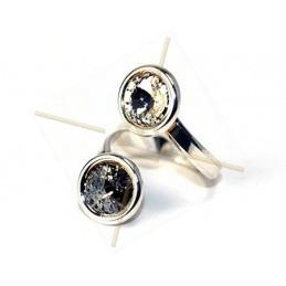 ring regelbaar zilver .925 voor Swarovski 2 x 8mm 1122 rivoli