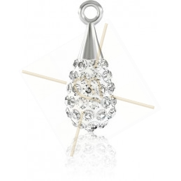 Swarovski Elements pendentif pave goutte 14mm Crystal