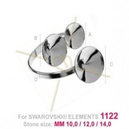 bague réglable argent .925 pour Swarovski 10-12-14mm 1122 rivoli