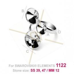 bague réglable argent .925 pour Swarovski 08-10-12mm 1122 rivoli
