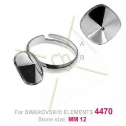 ring regelbaar zilver .925 voor Swarovski 4470 1 x 12*12mm steen