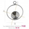 hanger  .925 zilver voor Swarovski 1122 SS39