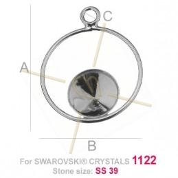 bélière argent .925 pour Swarovski 1122 SS39