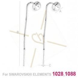 chaine d'oreille argent .925 avec support pour Swarovski 1088 SS39