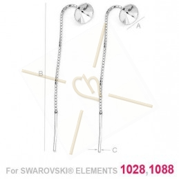 earchain silver .925 with conection for Swarovski 1088 SS39