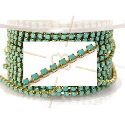 ketting staal gold met strass pp18 Turquoise