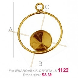 bail  silver .925 for Swarovski 1122 SS39 gold plated