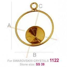 bélière argent .925 pour Swarovski 1122 SS39 doré