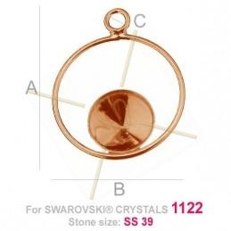 bélière argent .925 pour Swarovski 1122 SS39 doré rose